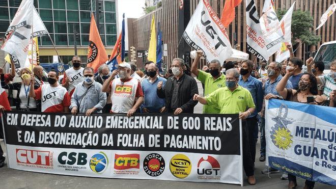Com ato na Avenida Paulista CTB e centrais intensificam campanha pelos R$ 600 e defendem prorrogação da desoneração da folha