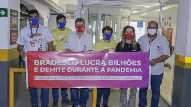 """Bradesco tem lucro histórico na pandemia; bancários foram """"recompensados"""" com 7,7 mil demissões em 2020"""