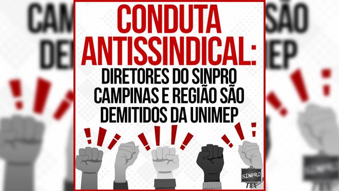 Diretores do Sinpro Campinas e região são demitidos da Unimep