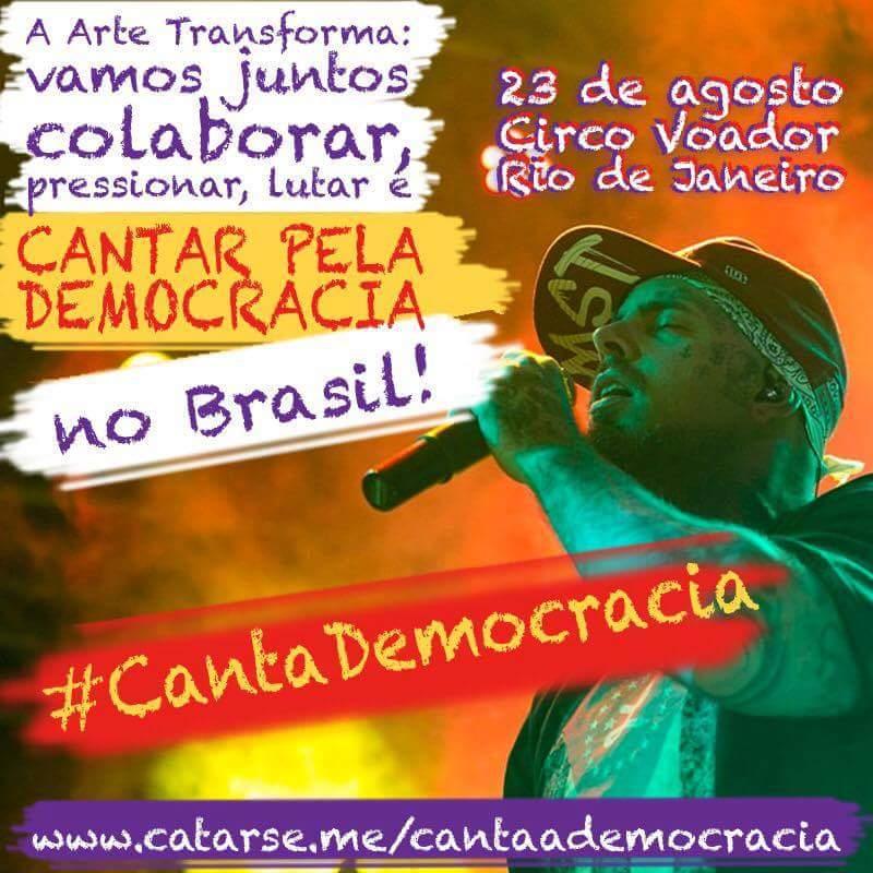 canta a democracia cartaz