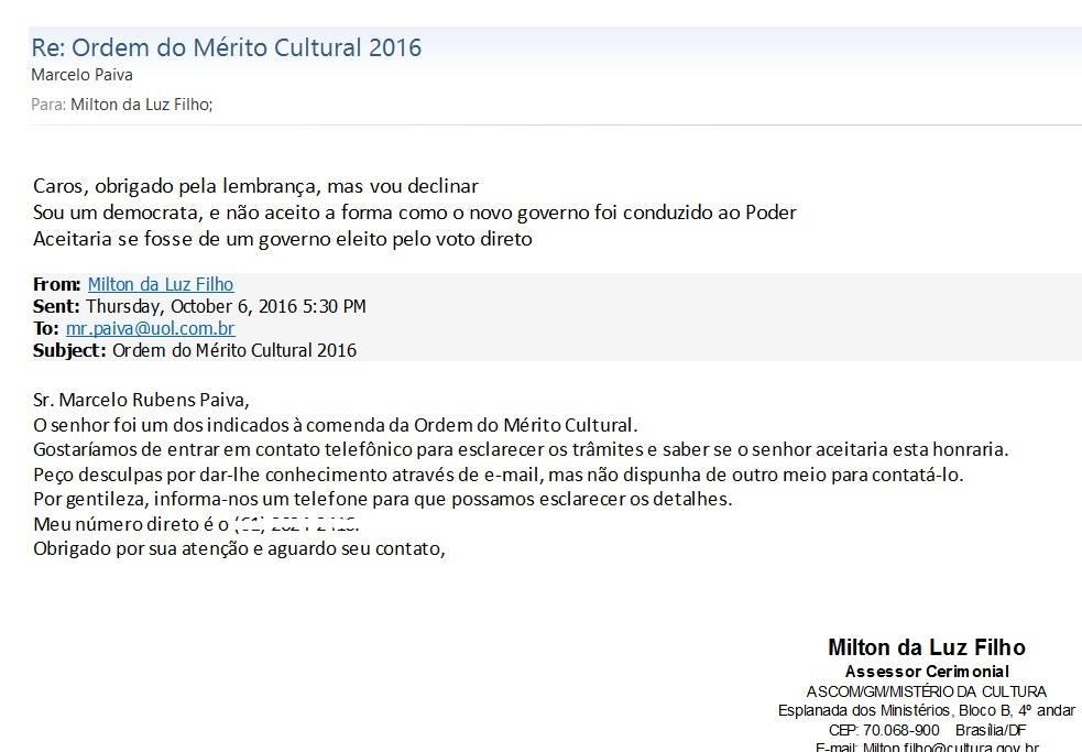 marcelo rubens paiva declina merito cultural