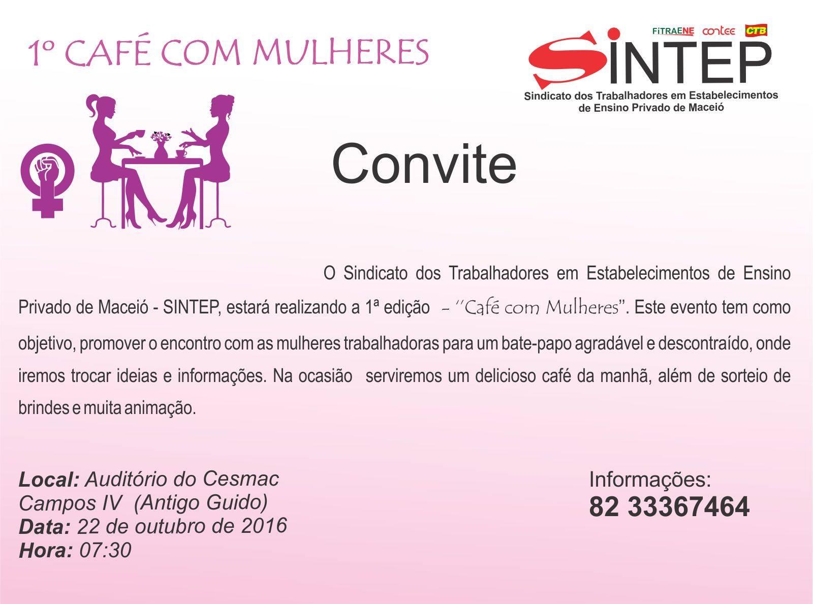 sintep al cafe com mulheres convite