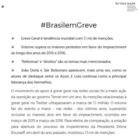 brasilemgreve recorde redes sociais