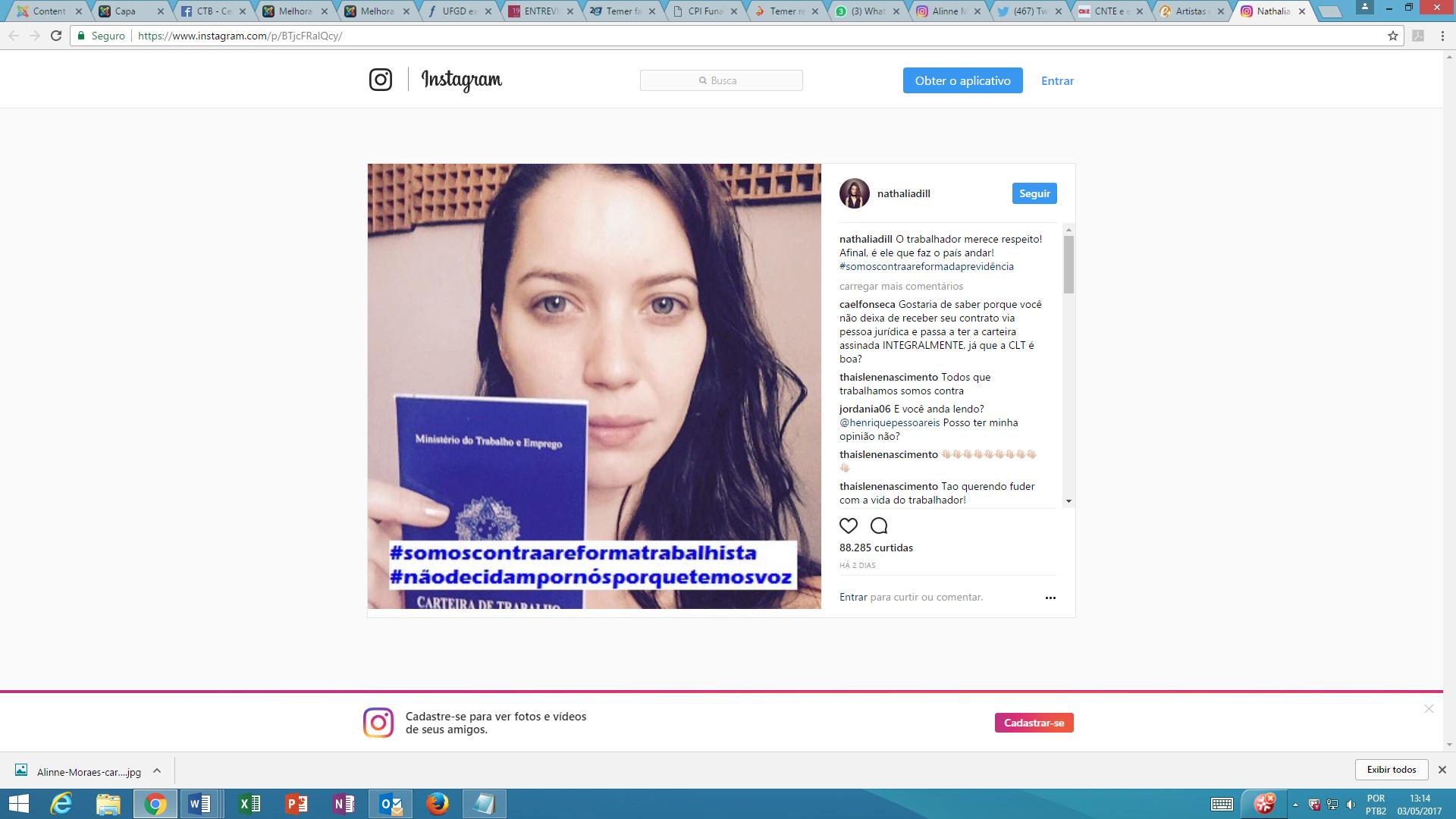 nathalia dill contra reformas instagram